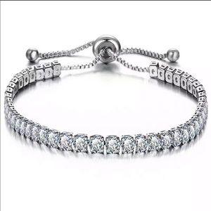 Jewelry - NEW Silver Tennis Adjustable Bracelet Crystals CZ